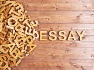 Wooden letters spelling out word essay